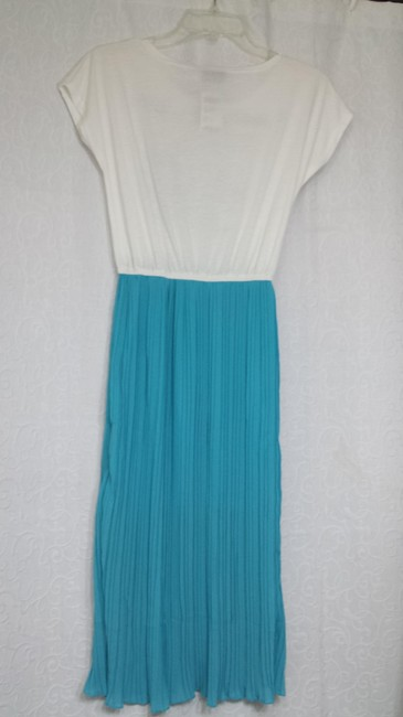Mint Blue Maxi Dress by Apostrophe Pleated