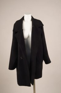 Max Mara Black Wool Double Pea Coat