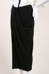 Lanvin Wool Blend Fringe Hem Draped Long Skirt Black