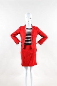 Moschino Moschino Cheap And Chic Red Cotton Blend Jacket Skirt Suit Set