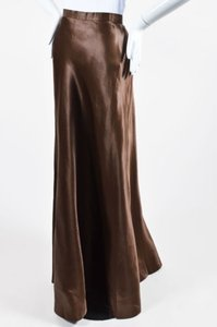 Heidi Weisel Silk Satin Full Length Wrap Maxi Skirt Brown