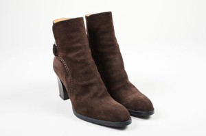 Tod's Dark Suede Strap Buckle Stacked Wooden Heel Ankle Brown Boots