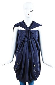 Lanvin Ete 2007 Navy Silk Bronze Tone Hardware Lace Up Oversized Tunic