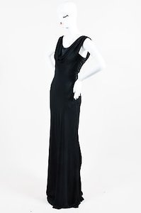 Black Maxi Dress by Zac Posen Cowl Neck Low Sleeveless Floor Length Gown