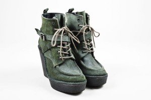Pierre Hardy Suede Lace Green Boots