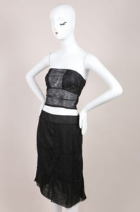 Chanel Black Sheer Mesh Paneled Strapless Crop Top A Line Set Skirt