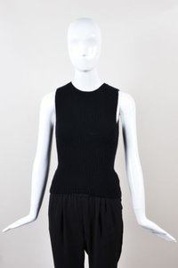 Theory Theyskens Wool Ribbed Knit Sleeveless P Top Black
