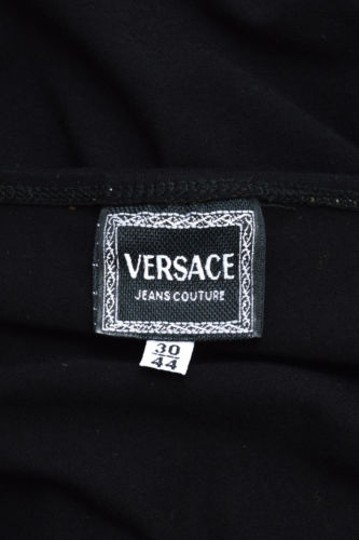 Versace Jeans Couture Black Stretch Knit Off The Shoulder Long Tank Top hot sale