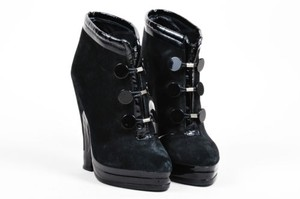 Marc Jacobs Suede Patent Leather Button Front Heeled Black Boots