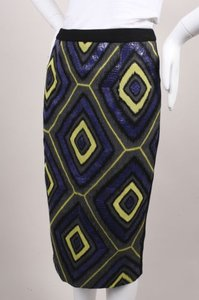 Andrew Gn Gn Black Multicolor Snakeskin Leather Wool Pencil Skirt