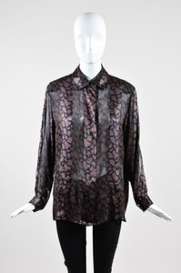Louis Feraud Black Brown Top Multi-Color