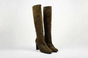 Sigerson Morrison Army Suede High Heeled Knee High Green Boots