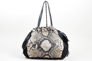 Prada Black Beige Nylon Snake Printed Leather Handle Bow Tote in Multi-Color