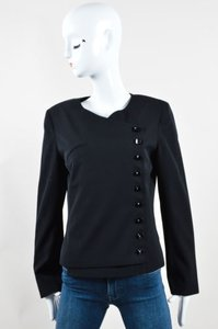 Chanel 00t Wool Gabrielle Button Up Long Sleeve Black Jacket