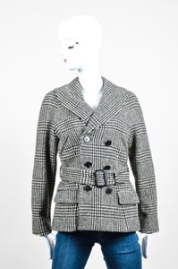 Ralph Lauren Label Black White Wool Houndstooth Belted Gray Jacket