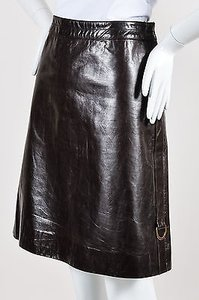 Marc Jacobs Gold Tone Leather A Line Skirt Brown