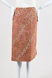 Jil Sander Red Ribbon Tweed Front Slit Skirt Multi-Color