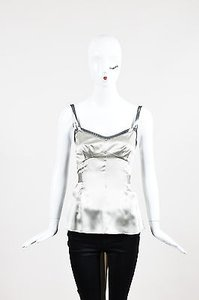 Dolce&Gabbana Grey Metallic Trim Self Belted Top Silver