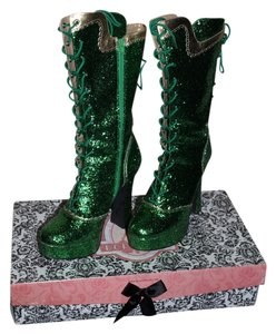 Bordello Glitter Green Boots
