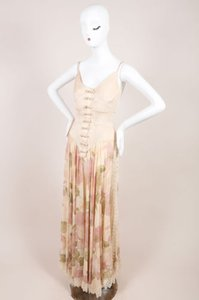 Maxi Dress by Valentino Vintage Pink Silk Lace Trim Floral Print Sheer Full Length