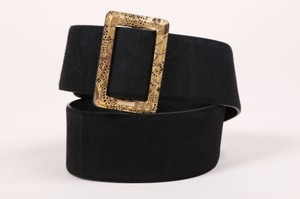 Chanel Chanel Aw09 Black Metallic Gold Suede Moscow Collection Belt