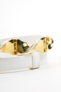 Judith Leiber Vintage Judith Leiber Cream Gold Tone Leather Swirl Buckle Belt