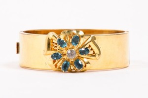 Vintage Harry Iskin 12k Gold Fill Blue Crystal Flower Lucina Bangle Bracelet