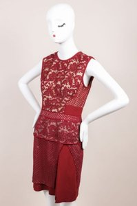 J. Mendel Red Jasper Mixed Lace And Textured Crepe Sheath Dress