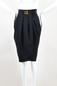 Fendi Gold Tone Wool Skirt Black