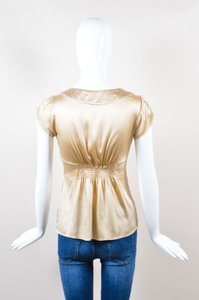 Etro Champagne Gold Silk Top Gray