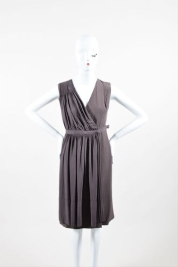 Akris Gray Brown Silk Pleated Ruched Sleeveless V Neck Wrap Dress 70%OFF