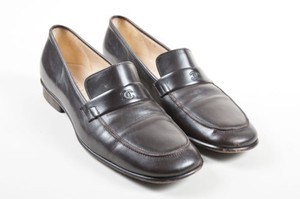 Chanel Leather Cc Logo Brown Flats