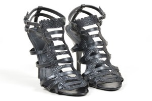 Givenchy Snakeskin Embossed Leather Strappy Heeled Cage Black Sandals