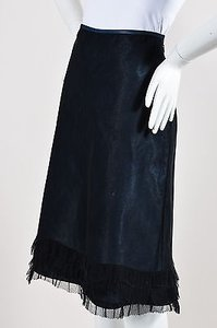 Marc Jacobs Black Chambray Tulle Overlay Tier Ruffle Trim A Line Skirt Blue