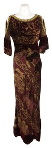 Maxi Dress by Roberto Cavalli Maroon Gold Velvet Silk Floral Cut Out Maxi