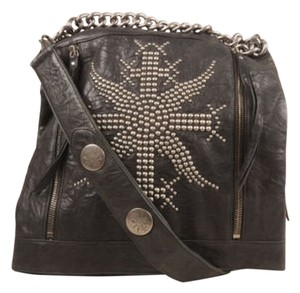Thomas Wylde Black Silver Tone Leather Studded Fold Over Shoulder Bag