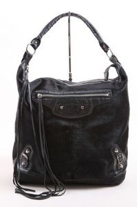 Balenciaga Ponyhair Leather Motocross Day Hobo Tote in Black