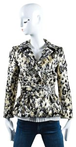 Giambattista Valli Cream Black Gold Metallic Belted Peplum Multi-Color Jacket