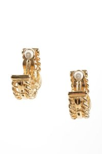 Givenchy Givenchy Gold Tone Rhinestone Embellished Textured Half Hoop Clip On Earrings