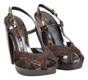 Fendi Suede Patent Brown Sandals
