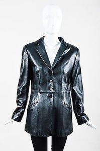 Armani Collezioni Armani Collezioni Black Leather Long Ls Blazer Jacket
