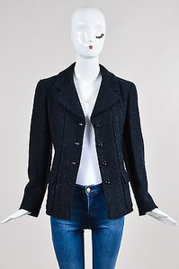 Chanel 01p Navy Metallic Thread Texture Ls Blue Jacket