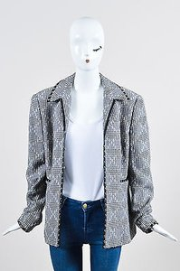 Escada Escada Black White Wool Leather Grommet Houndstooth Blazer Jacket
