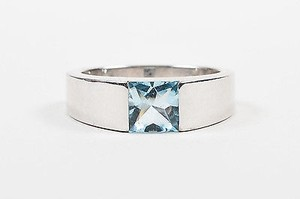 Cartier Cartier 18kt White Gold Square Aquamarine Stone Tank Ring 4.25