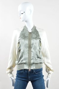 3.1 Phillip Lim Sage Cream Floral Print Silk Zip Up Green Jacket