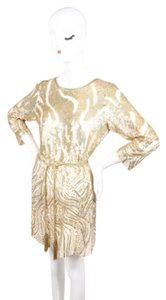 Oscar de la Renta short dress Cream Gold Sequin Embellished Belted Shift on Tradesy