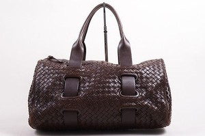 Bottega Veneta Brown Intrecciato Handbag Satchel in Clear