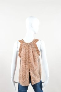 Rebecca Taylor Brown Silky Spotted Sequin Embellished Open Back Sl Top tan