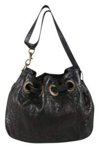 Dior Black Quilted Leather Grommet Shoulder Bag