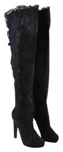 Ermanno Scervino Navy Suede Leather Lace Over The Knee Boots